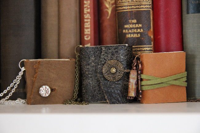 Miniature book necklaces