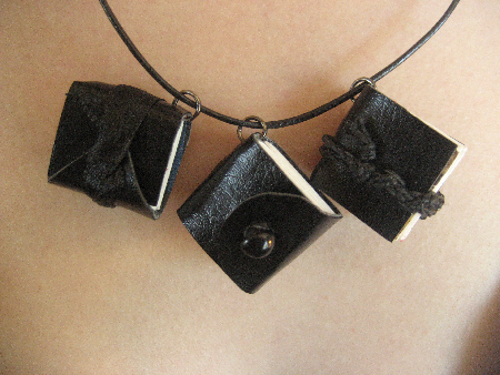Super tiny mini book necklace trio