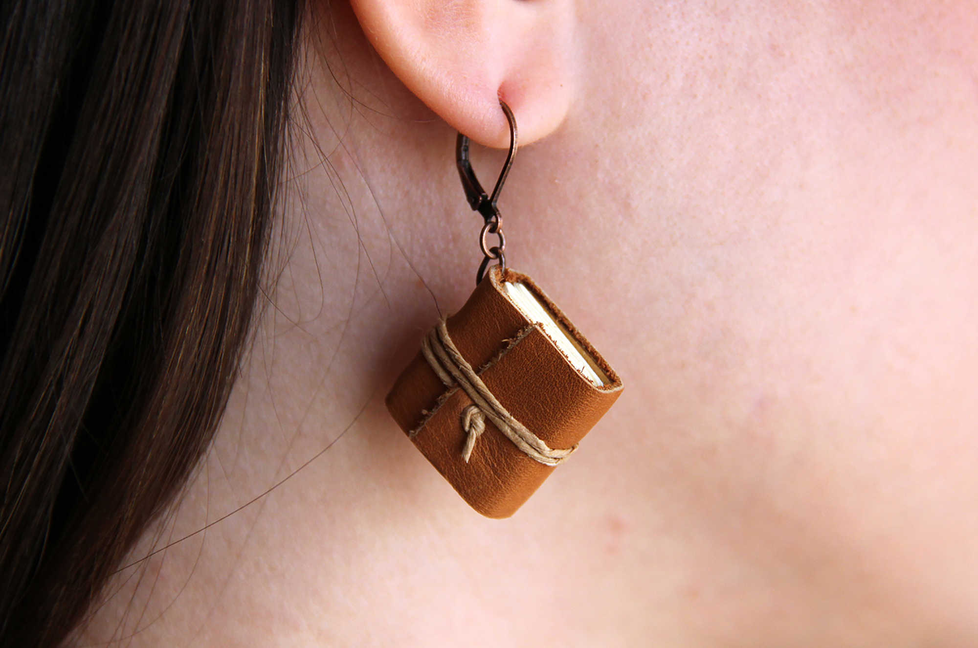 Leather Miniature Book Earrings