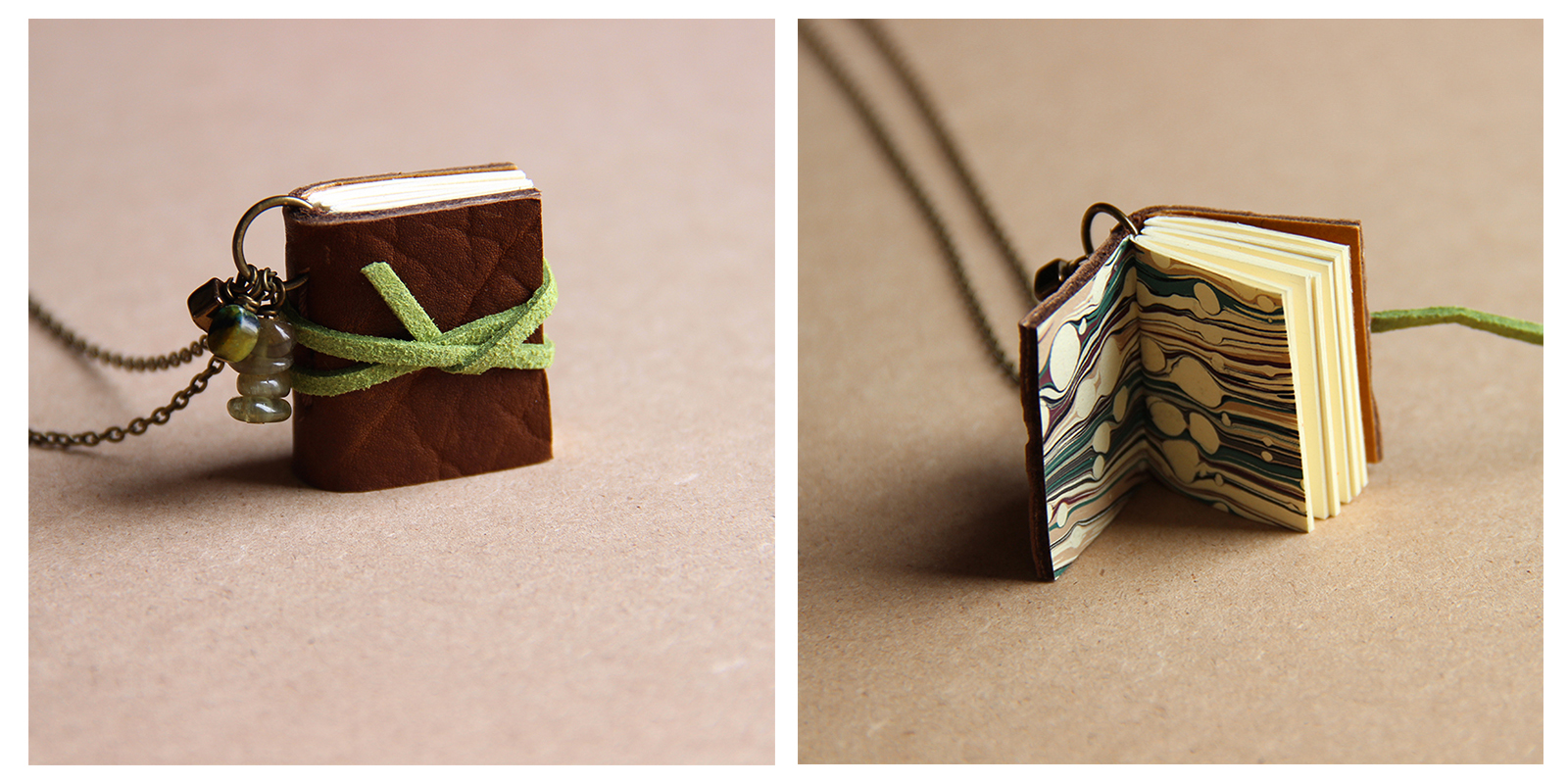 Exterior and Interior of a Book Necklace