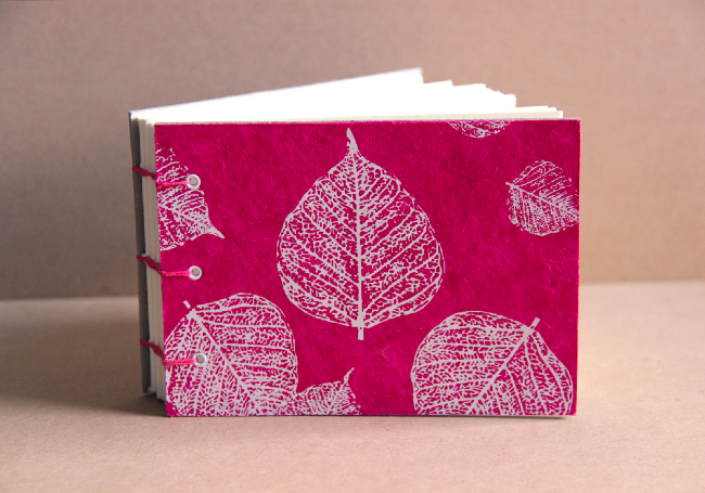 Nepalese leaf print lie-flat sketchbook