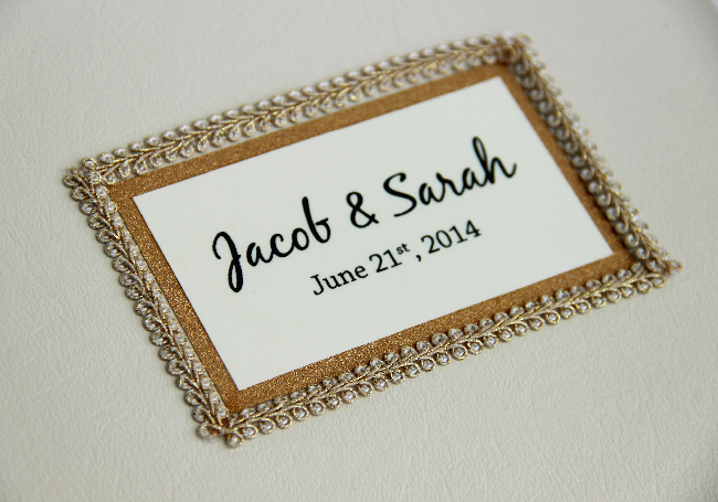 Custom wedding guestbook - close up view