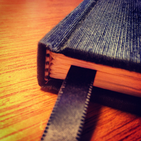 Black silk hardcover notebook - spine view