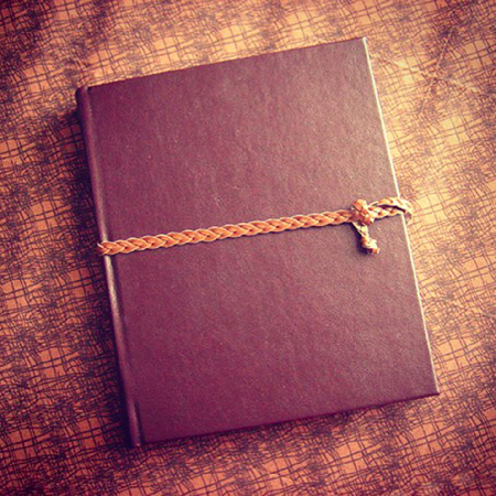 Brown leather hardcover notebook
