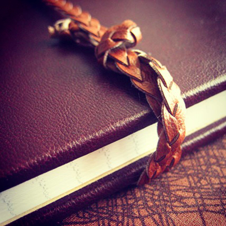 Brown leather hardcover notebook - close up