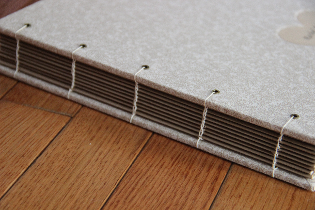 Custom guestbook – lay flat, exposed stitch binding