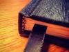 Black silk hardcover notebook - spine view
