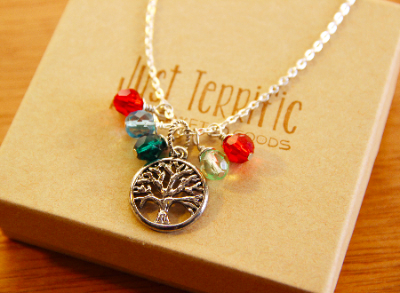 Custom family tree necklace with birthstone crystals