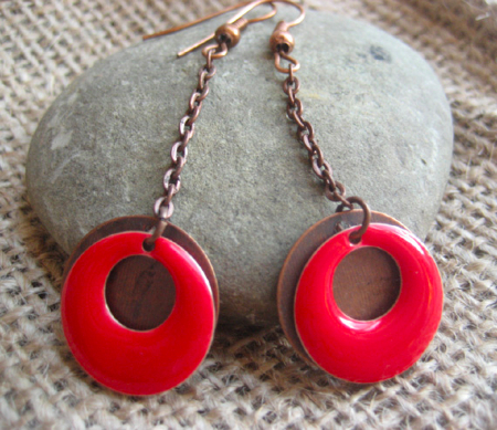 Red enamel dangle earrings