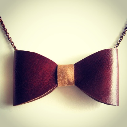 Leather bow-tie necklace