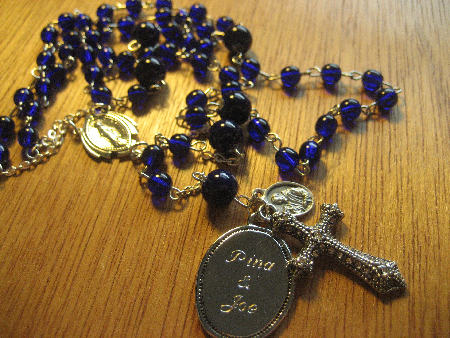 Custom rosary beads with engraved name charm