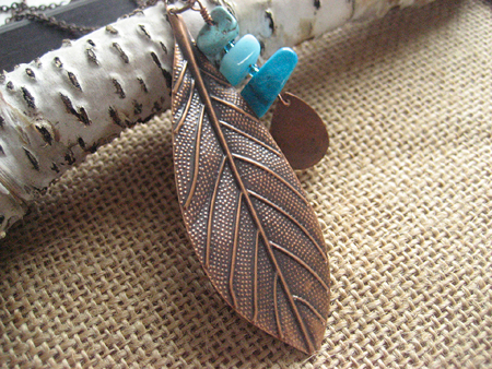 Copper leaf necklace with turquoise beads