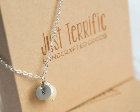 Custom bridesmaids necklace with engraved charms