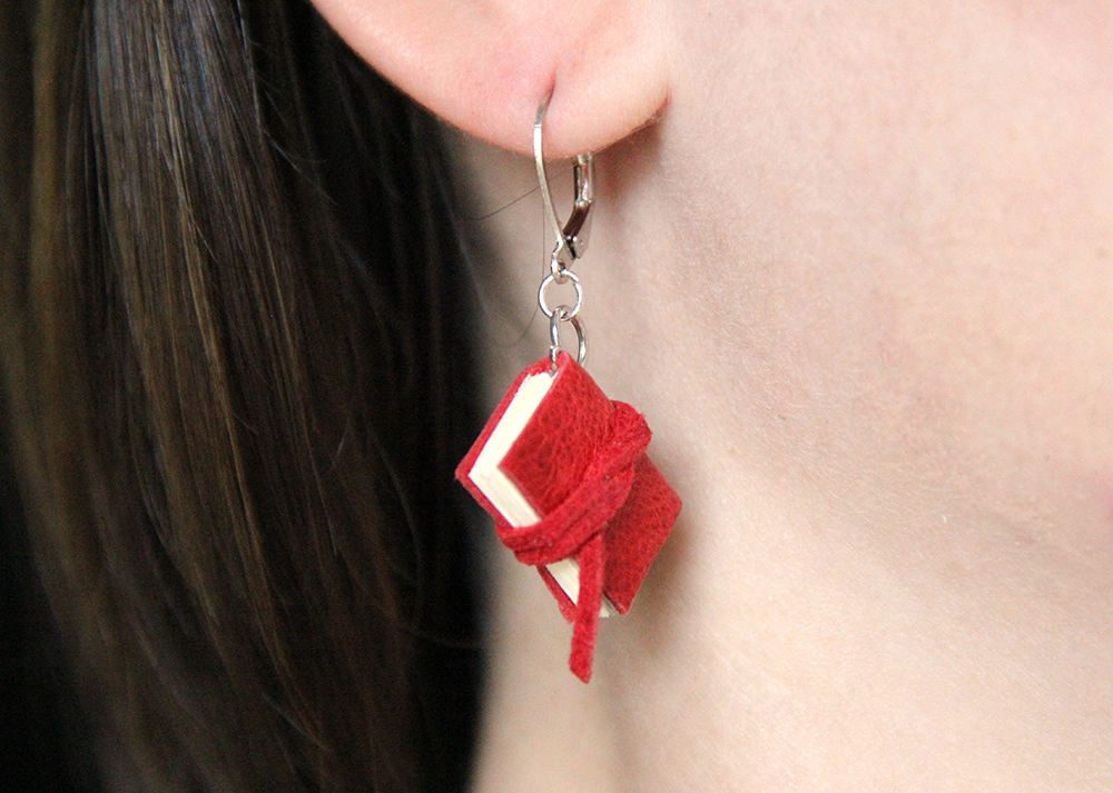 Red mini book earring as a librarian gift