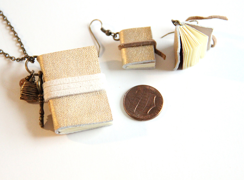 Miniature book jewelry set - crafted leather books for sale