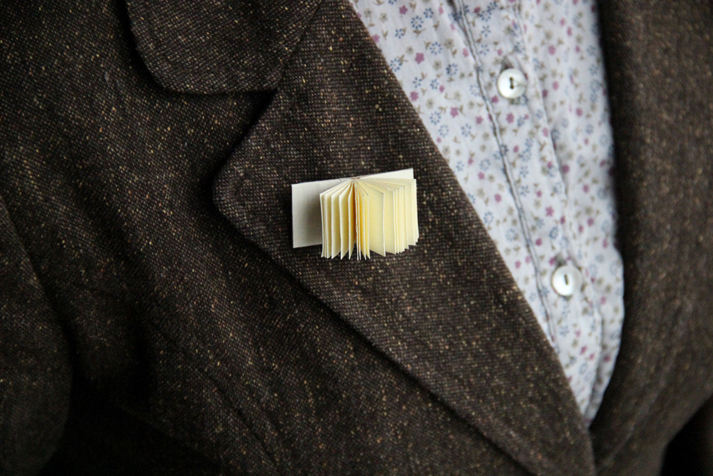 Miniature book jacket pin makes a perfect teacher gift
