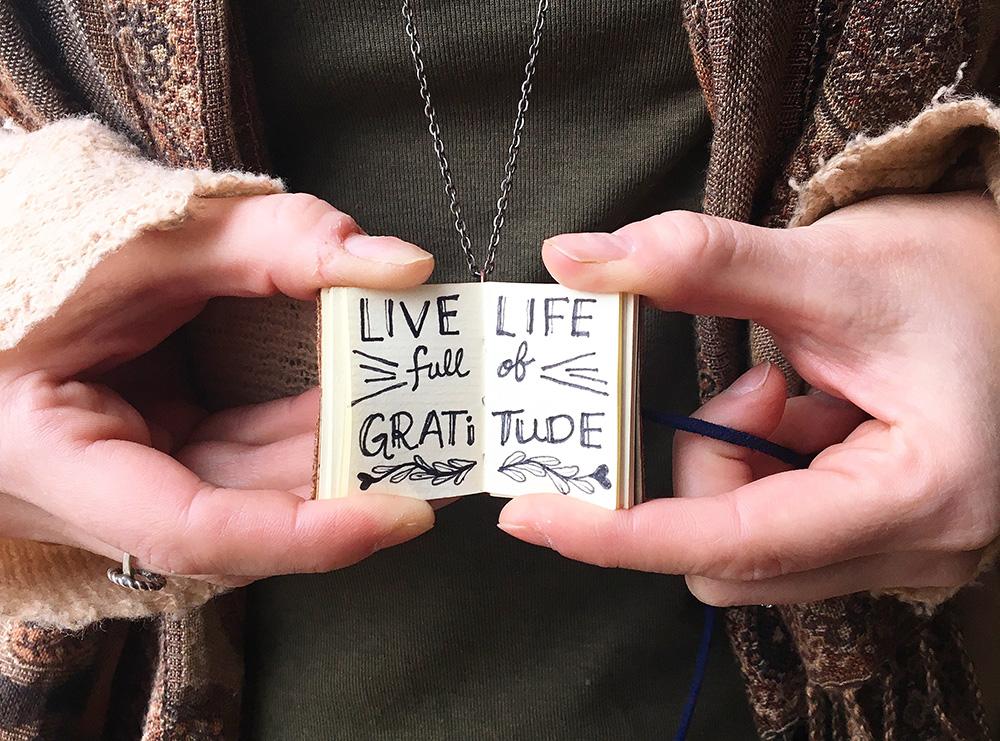 Handmade miniature book jewelry. Life life full of gratitude. - Just Terrific