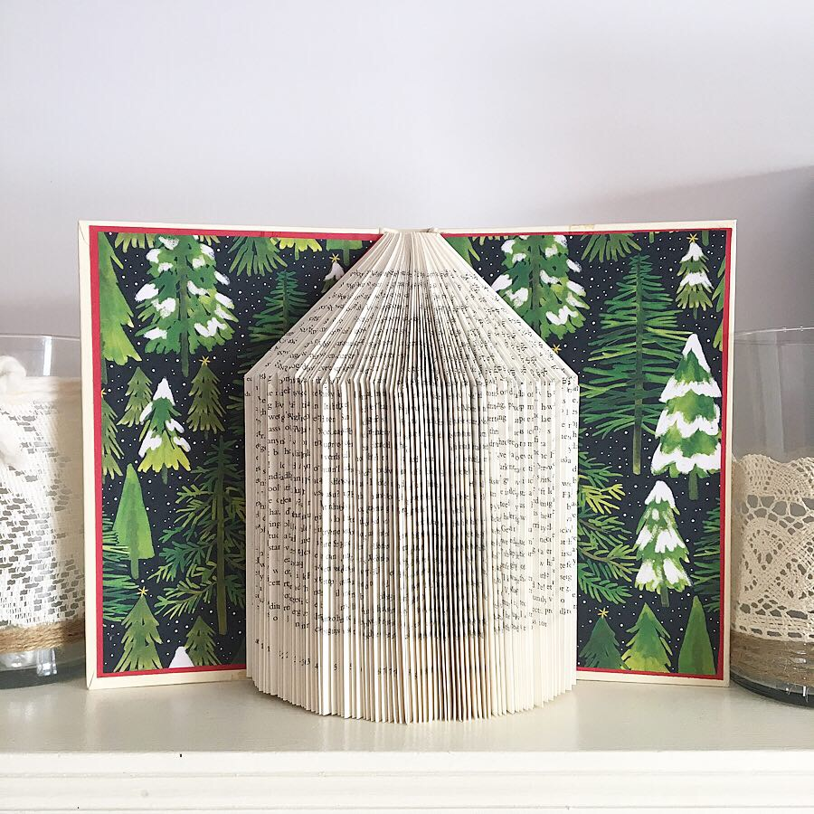 holiday themed folded book sculpture