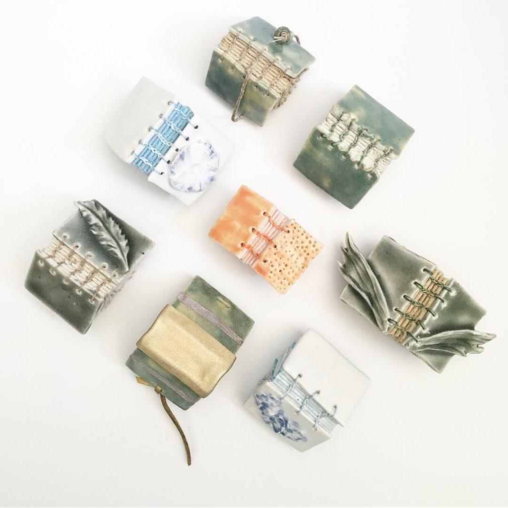 ceramic covers of miniature books