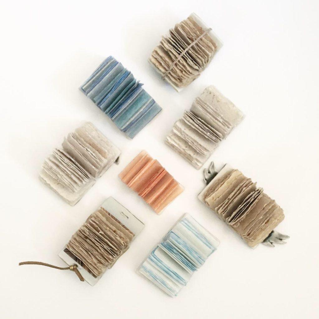 Miniature mudbooks bound with rice paper