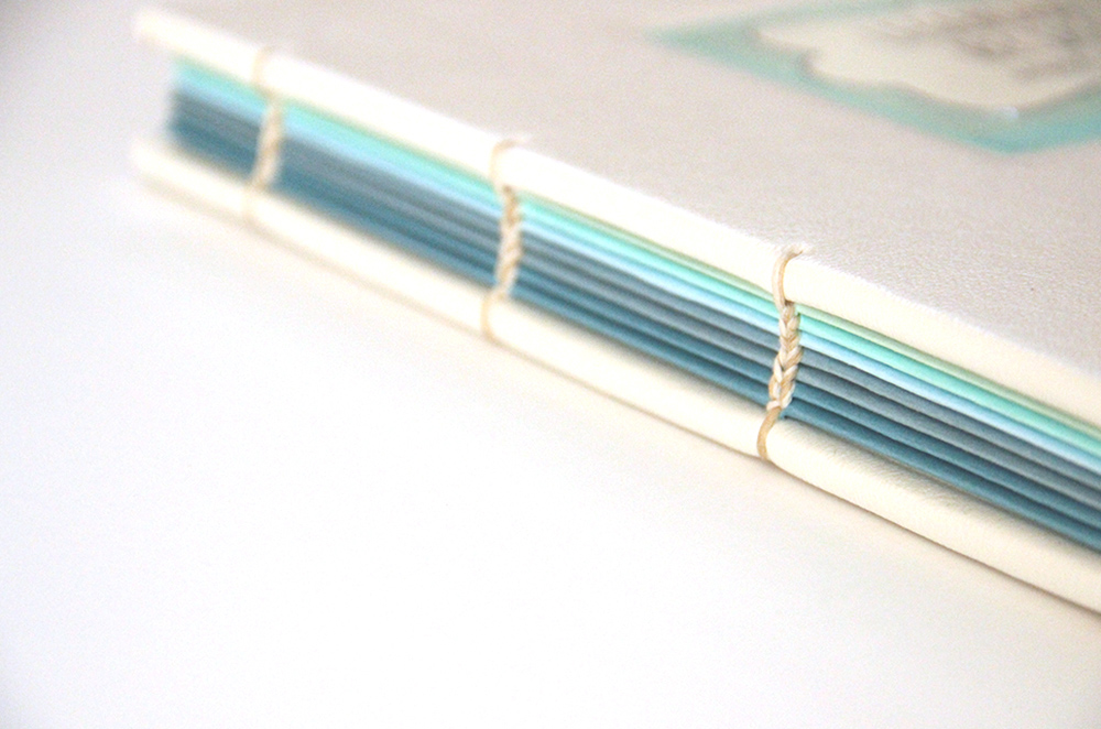exposed book binding - colored detailing
