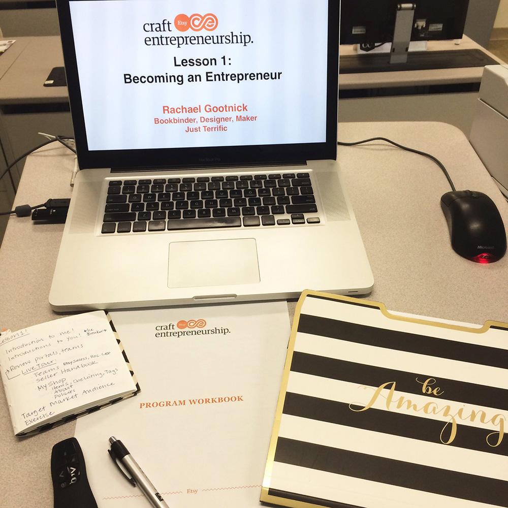 Etsy Craft Entrepreneurship teaching with Just Terrific