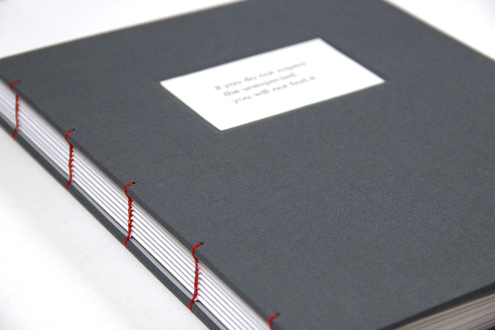 Cover and binding of a handmade coptic sketchbook
