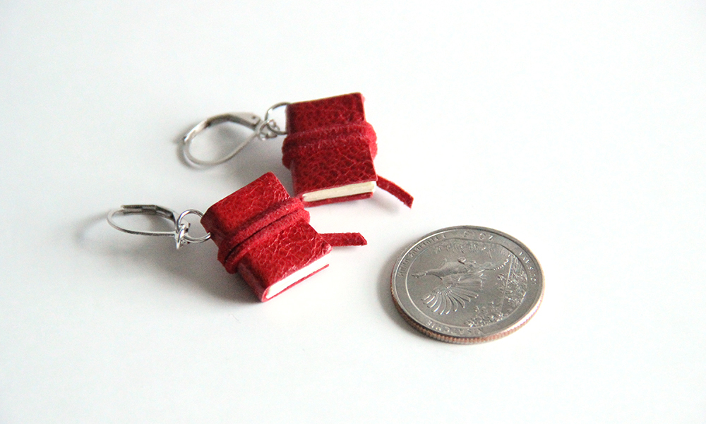 red book earrings - custom made book jewelry by Just Terrific