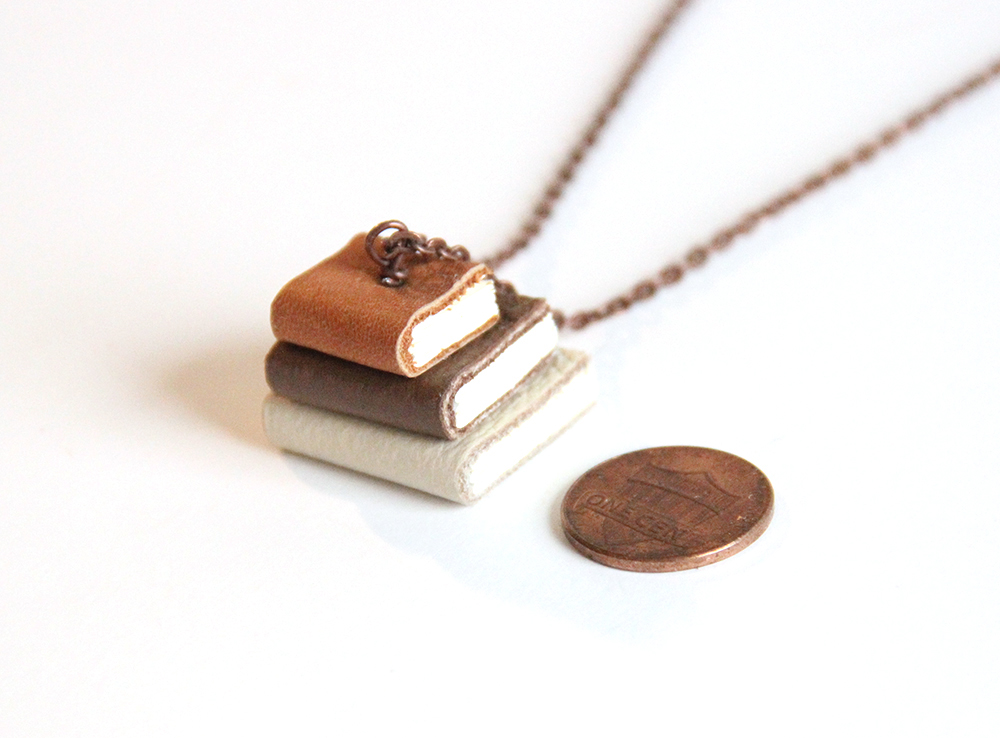Book necklaces on etsy created by Just Terrific in New York