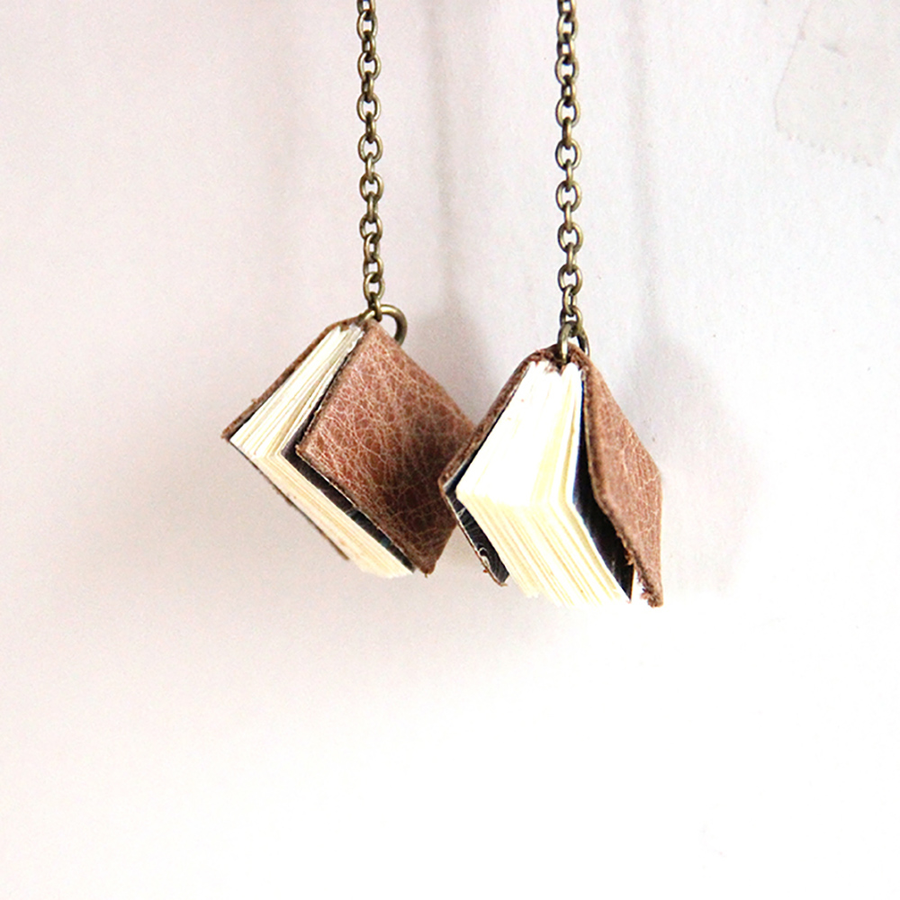 Brown leather book earrings