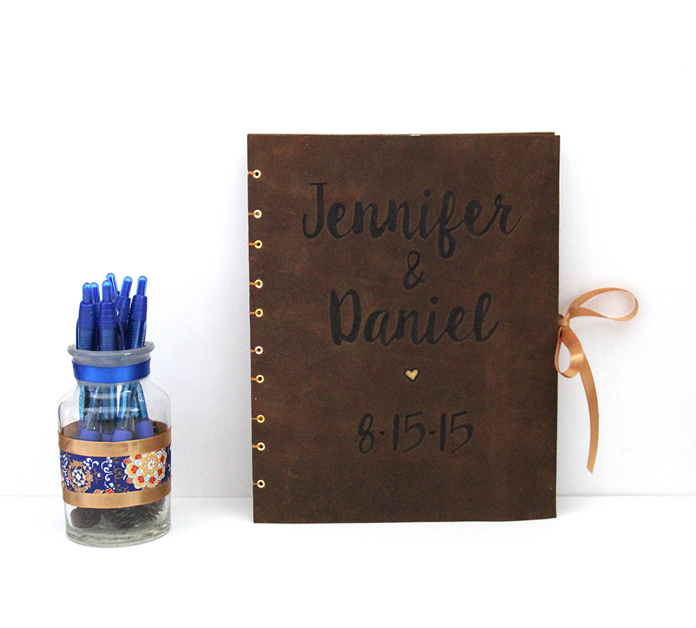 brown leather wedding guestbook