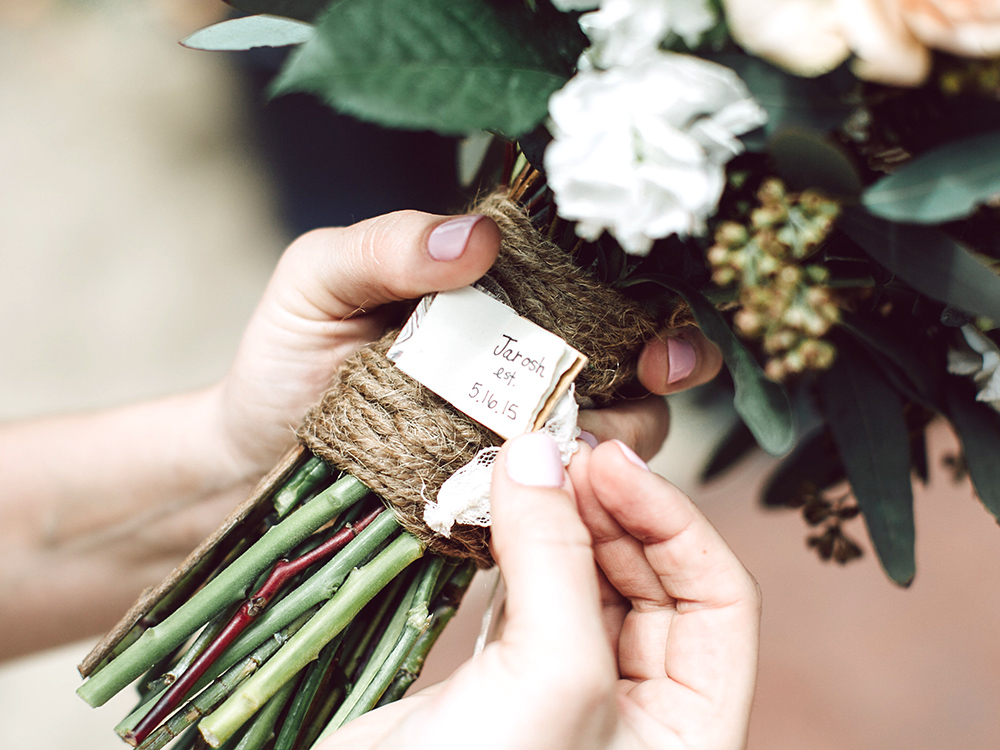 Handmade wedding book keepsake makes the perfect wedding gift idea. Custom wedding bouquet charm made by Just Terrific.